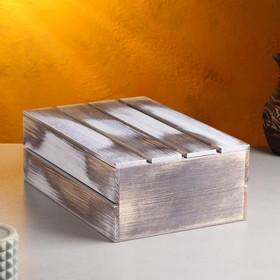 Кашпо деревянное 30×20×10 см, состаренное - фото 7438144
