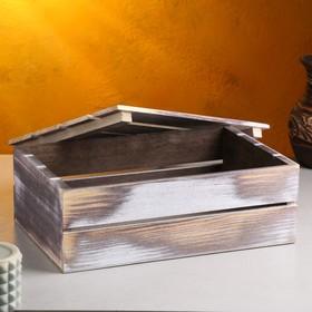 Кашпо деревянное 30×20×10 см, состаренное - фото 7438145