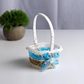 Миниатюра кукольная - корзинка «Цветочек», цвет голубой