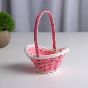 Миниатюра кукольная - корзинка, цвет нежно-розовый с белым