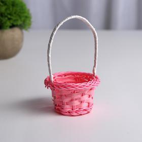 Миниатюра кукольная - корзинка, цвет розово-персиковый
