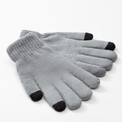 "Men's two-layer MINAKU ""Plain"" gloves, size 8-9, color gray"