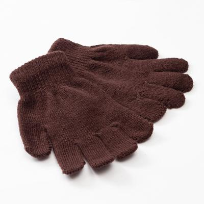 "Minaku ""Plain"" children's gloves, color brown, R-R 15 (6-8 years old)"