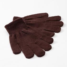 "Children's gloves MINAKU ""Plain"", color brown, R-R 16 (10-12 years old)"