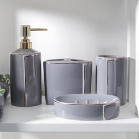 "Bathroom set ""Line"" 4 items (soap dish. soap dispenser, 2 cups), grey"