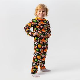 Пижама для мальчика, цвет тёмно-синий/мяч, рост 104 см