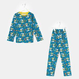 Пижама для девочки, цвет синий/зайка, рост 104 см
