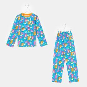 Пижама для девочки, цвет синий/кошки, рост 104 см