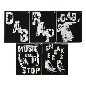Тетрадь 48 листов в клетку RAP & DAB, мелованный картон, УФ-лак, конгрев, МИКС