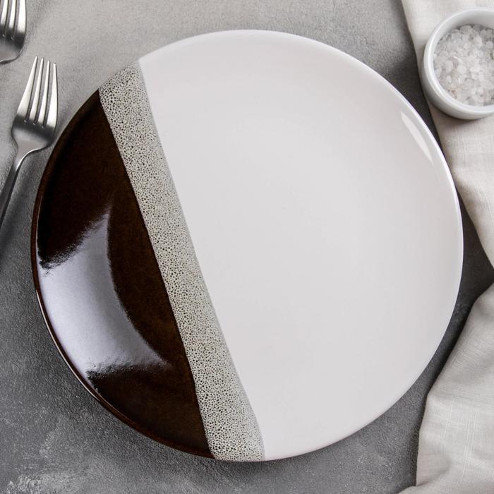 Тарелка мелкая «Луч», d=26 см, цвет коричневый - фото 669830