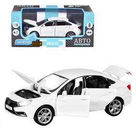 Машина металлическая «Lada Vesta седан» 1:24, цвет белый, открываются двери, капот, багаж, световые и звуковые эффекты