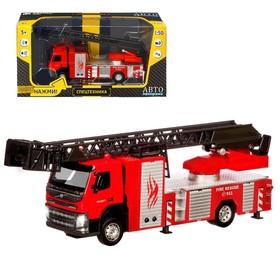 Машина металлическая «Volvo Пожарная», 1:50, откидная кабина, выдвижная лестница, световые и звуковые эффекты, цвет красный