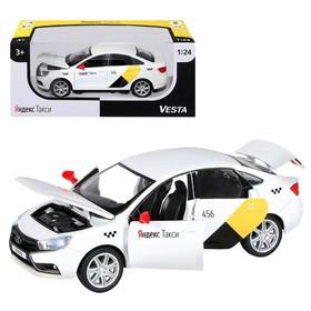 "Машина металл ""Lada Vesta Яндекс Такси"" 1:24 цв белый откр двери,багаж,озвуч JB1251344"