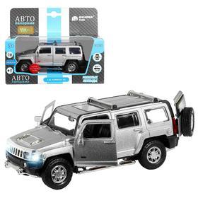 Машина металлическая Hummer H3 1:32, инерция, световые и звуковые эффекты, открываются двери, цвет серебро