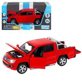 Машина металлическая Volkswagen Amarok 1:30, инерция, световые и звуковые эффекты, открываются двери, цвет красный