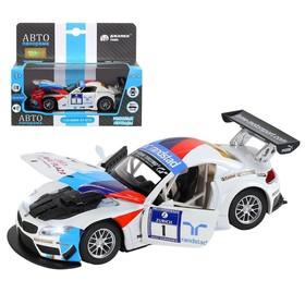Машина металлическая BMW Z4 GT3 1:32, инерция, световые и звуковые, открываются двери, цвет белый