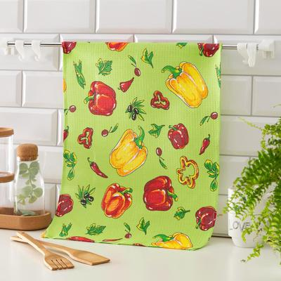 Waffle towel Collorista Peppers color green 35*50,100% HL, 160 g / m2