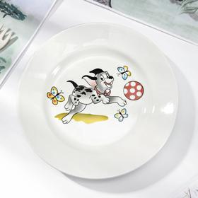 Тарелка мелкая Кубаньфарфор «Озорные щенки», d=17,5 см