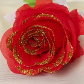 """Цветок искусственный """"Роза с позолотой"""" - фото 1692534"""