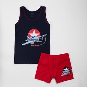 Комплект (майка, трусы) для мальчика, цвет красный/тёмно-синий, рост 98-104 см