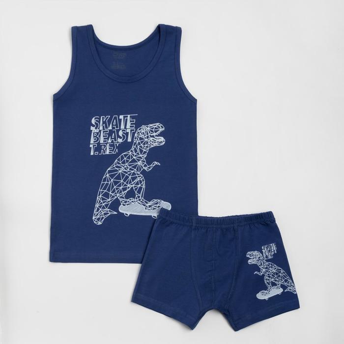 Комплект (майка, трусы) для мальчика, цвет синий, рост 98-104 см - фото 76725120