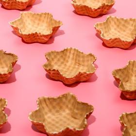 Waffle ice cream dish is not glazed, large, 64 PCs