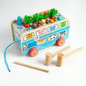 """Children's educational set 4 V1 """"Fishing + knocker + gurney + sorter"""" 23, 5x14, 5x14 cm"""