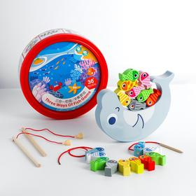 "Children's educational set 3 V1 ""Fishing + balance + lacing"" 22, 4x22, 4x8, 1 cm"