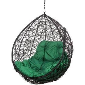"Подвесное кресло ""Tropica Black BS"" без стойки (зеленая подушка)"