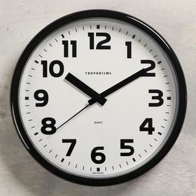 """Часы настенные """"Классика"""" плавный ход, d=22.5 cм, чёрные"""