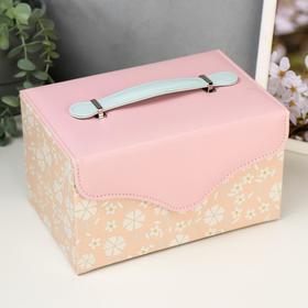 """Шкатулка кожзам для украшений """"Белые цветы"""" розово-персиковая 13,5х23х15,5 см"""