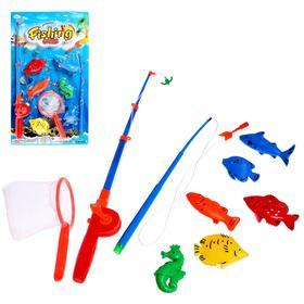Рыбалка «Весёлая рыбалка», 1 удочка, насадка, 6 рыбок, сачок