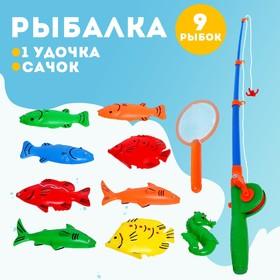 """Fishing """"Fun fishing"""" 1 fishing rod, 9 fish, net"""