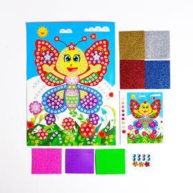Мозаика стикерная «Веселая бабочка» блестки, стразы