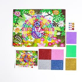 "Mosaic sticker ""Peacock"" sequins, rhinestones"