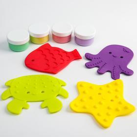 Набор антискользящих мини-ковриков для ванны 5 шт., с пальчиковыми красками