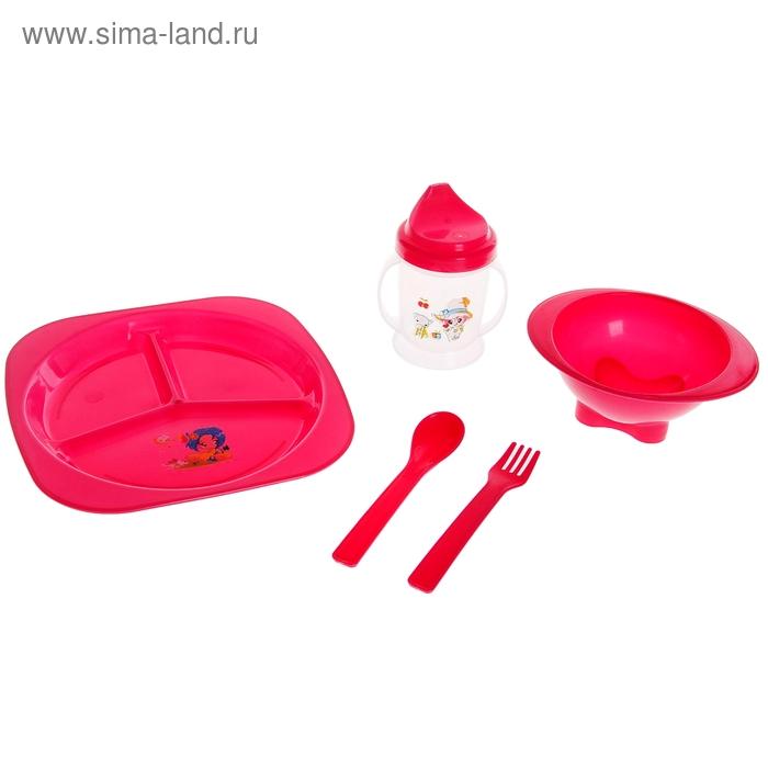 Набор детской посуды: тарелка квадратная, ложка, вилка, миска, поильник, цвета МИКС