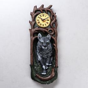 """Часы """"Волк"""", водная краска, серые, 50*17*13 см"""