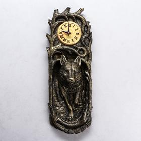 """Часы """"Волк"""", водная краска, чёрно-золотистые, 50*17*13 см"""