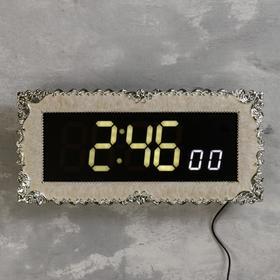 Часы настенные электронные с  будильником, цифры белые, от сети, 38х18х3.5 см