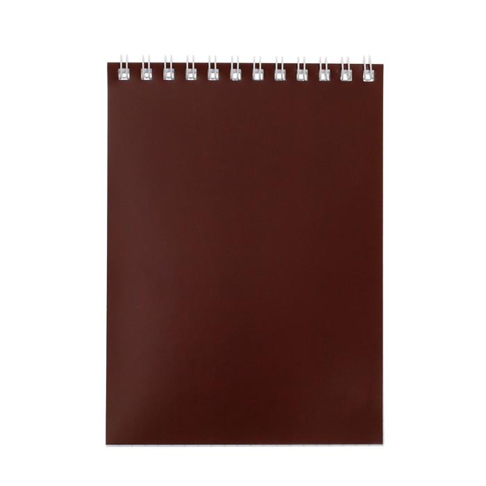 """Блокнот А6, 40 листов на гребне """"Корпоративный"""" коричневый, ВД-лак"""