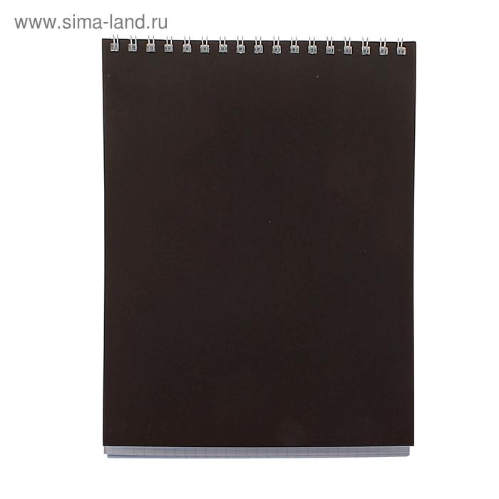 """Блокнот А5, 40 листов на гребне """"Корпоративный"""" коричневый, ВД-лак"""