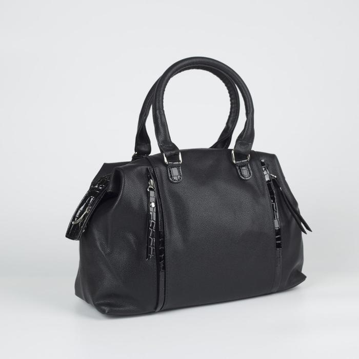 Сумка женская, отдел на молнии, 3 наружных кармана, цвет чёрный - фото 767603
