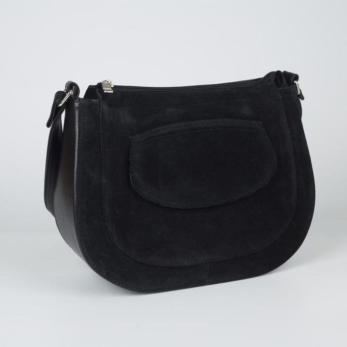 Сумка женская, отдел на молнии, наружный карман, регулируемый ремень, цвет чёрный - фото 767641