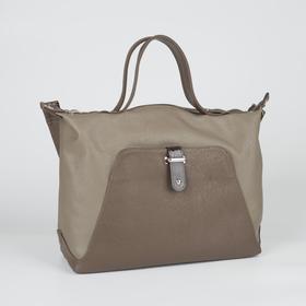 Сумка женская, отдел на молнии, 2 наружных кармана, длинный ремень, цвет коричневый/бежевый