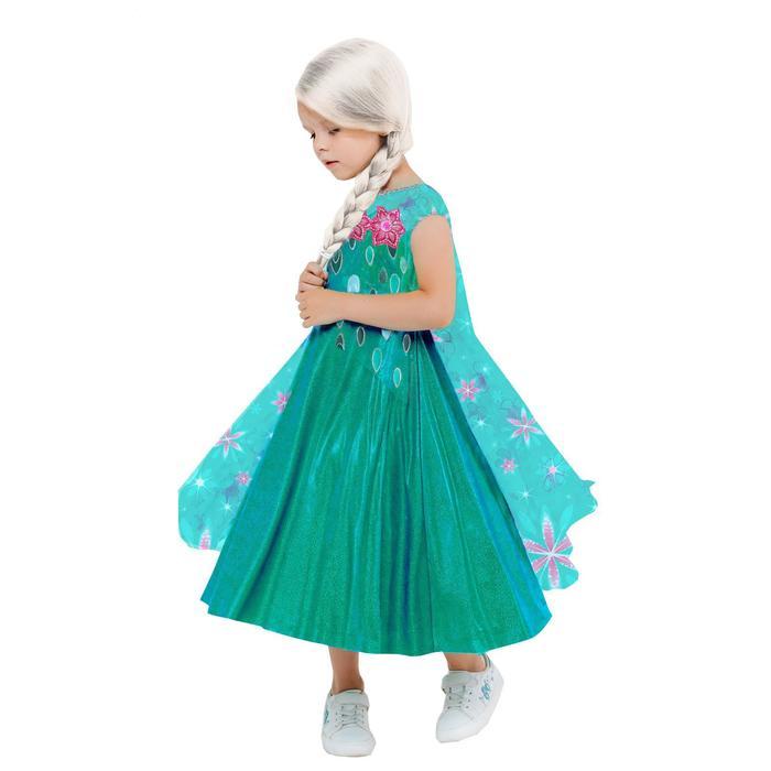 Карнавальный костюм «Эльза зеленое платье», платье с накидкой, парик, р.34, рост 134 см - фото 106966680