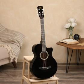 Гитара акустическая черная, 6-ти струнная 97см