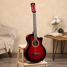 Гитара акустическая красная, 6-ти струнная 97см