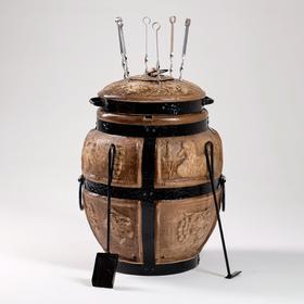 Тандыр средний, h-67 см, d-46 см, 6 шампуров, кочерга, совок