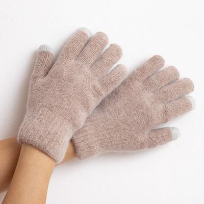 "Women's two-layer gloves MINAKU ""Plain"", size 6.5, color beige"